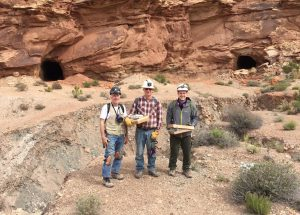 Tony Kampf, Joe Marty, and Travis Olds at the mouth of the Giveaway-Simplot mine in Red Canyon. Photo Tony Kampf.
